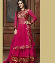 Buy PINK NET EMBROIDERED SEMI-STITCHED ANARKALI SUIT anarkali-salwar-kameez online