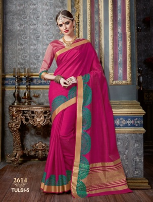 pink hand_woven tussar_silk saree with blouse