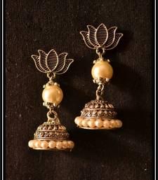 Buy Pearl Handcrafted Semi-Precious Bead Earrings jhumka online