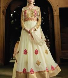 Buy Off white multi resham work georgette salwar with dupatta anarkali-salwar-kameez online