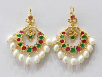 ETHENIC POLKI RUBY EMRALD N REAL WHITE PEARLS HANGINGS IN CHAND BALI STYLE