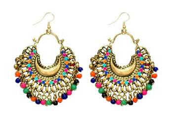 Banjara Multicolored Chandbalis - Gold