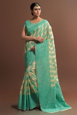 Cream woven super_net saree with blouse
