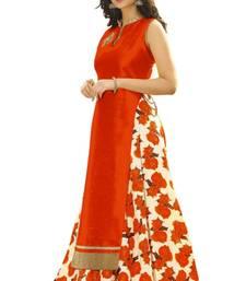 Buy Orange printed silk unstitched lehenga with dupatta indian-dress online