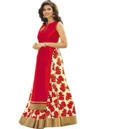 Buy Red printed silk unstitched lehenga with dupatta lehenga-choli online