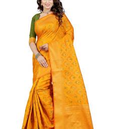 Buy Yellow woven banarasi silk saree with blouse banarasi-silk-saree online