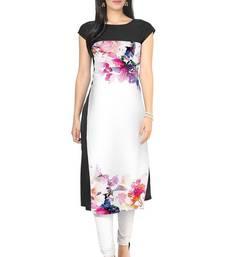 Buy Black floral print crepe stitched kurti multicolor-kurti online