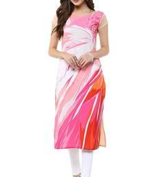 Buy Pink floral print crepe stitched kurti multicolor-kurtis online