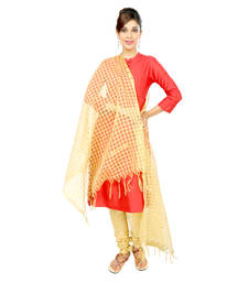 Buy Beige Checkered Blended Dupatta stole-and-dupatta online