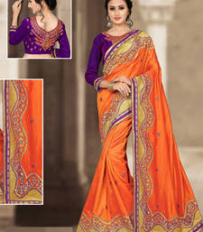 Buy Orange hand woven silk saree with blouse silk-saree online