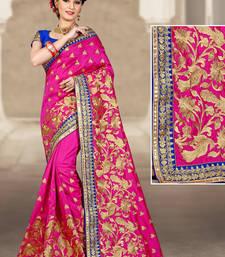 Buy Rani pink hand woven silk saree with blouse silk-saree online
