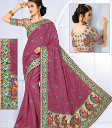 Buy Dark onion pink hand woven manipuri silk saree with blouse manipuri-silk-saree online