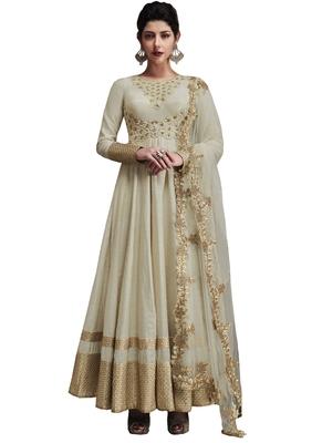 Off white embroidered silk salwar