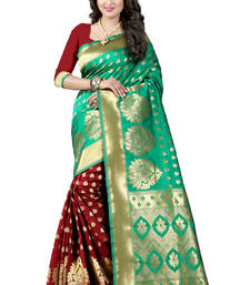 Buy Turquoise woven banarasi silk saree with blouse banarasi-silk-saree online