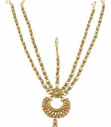 Buy Golden Beige Polki Stones Matha Patti Damini Jewellery for Women hair-accessory online
