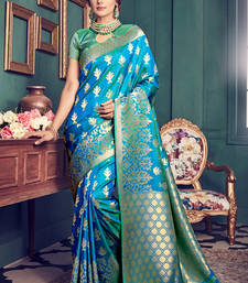 Buy Sky blue woven kanchipuram silk saree with blouse kanchipuram-silk-saree online