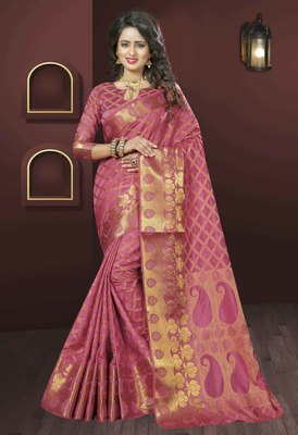 Dark Peach woven silk saree with blouse