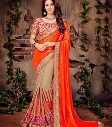 Buy Orange embroidered georgette saree with blouse half-saree online