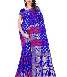 Buy Blue woven art silk saree with blouse art-silk-saree online