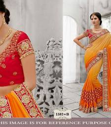 Buy Multicolor embroidered chiffon saree with blouse bridal-saree online