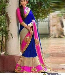 Buy Multicolor embroidered paper cotton saree with blouse wedding-saree online