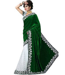 Buy Green embroidered velvet saree velvet-saree online