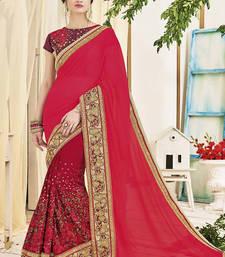 Buy Red Art Silk Embroidery Designer Saree wedding-season-sale online