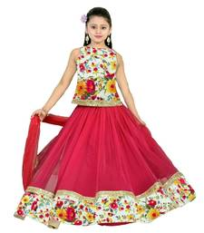 Buy pink  bhaglpury semi stitched lehenga with dupatta kids-lehenga-choli online