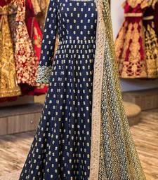 Buy Blue embroidered art silk salwar with dupatta wedding-season-sale online