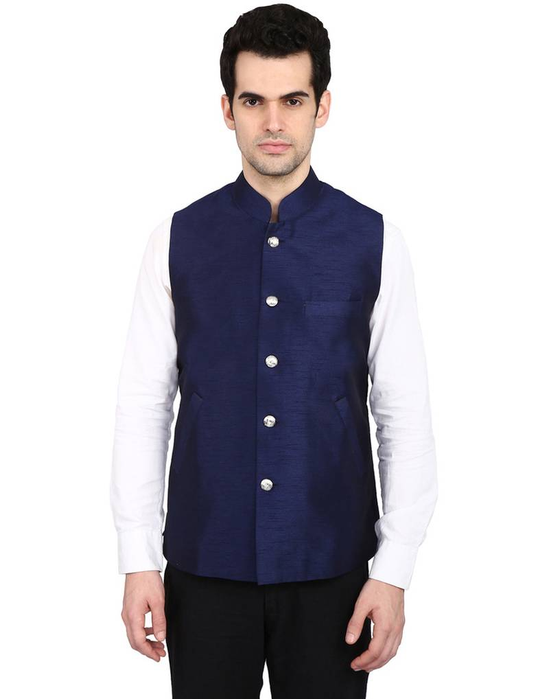 Buy Indian Attire Designer Ethnic Navy Blue Blended Silk