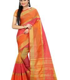 Buy Orange printed cotton silk saree with blouse cotton-silk-saree online