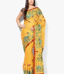 Buy Yellow woven banarasi saree with blouse banarasi-saree online