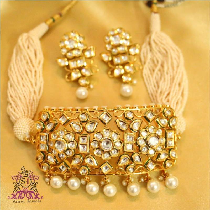 Buy Royal Kundan Amp Pearl Choker Necklace Set Online