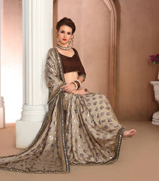 Buy Multicolor printed satin saree with blouse satin-saree online