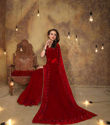 Buy Red embroidered georgette saree with blouse great-indian-saree-festival online