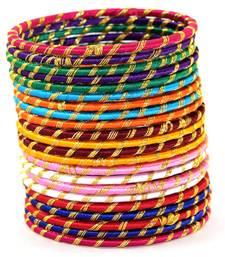 Buy Partywear  Multi Colour Silk thread bangle 2.6 (11 PCS) bangles-and-bracelet online