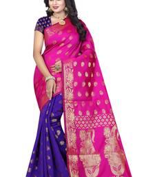Buy Pink printed banarasi silk saree with blouse banarasi-saree online