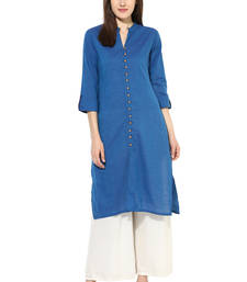 Buy blue plain cotton stitched kurti kurtas-and-kurti online