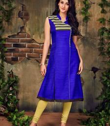 Buy Royal blue plain silk stitched party-wear-kurtis party-wear-kurtis online
