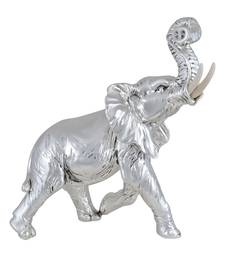 Buy silver rolling trunk elephant figurine for home decor online Silver elephant home decor
