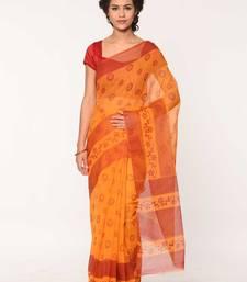 Buy yellow printed cotton saree with blouse cotton-saree online