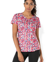 Buy Pink and Multi Colour and Print workout gym wear V Neck Tee workout-gym-wear online