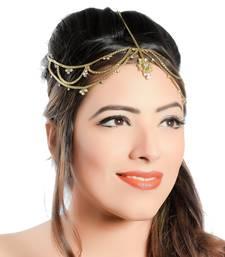Buy Moddish Gold Finish White Stone with Kundan Matha Patti maang-tikka online