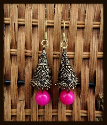 Golden Unique Jhumka - pink
