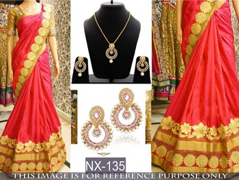 Red embroidered paper cotton saree with blouse & free gift