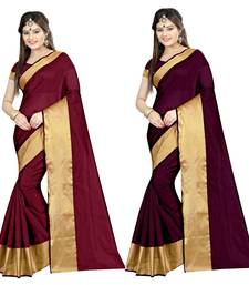 Buy Multicolor printed cotton poly saree with blouse sarees-combo-sari online