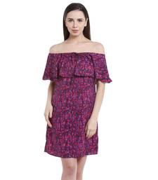 Buy Purple printed Crepe dresses ganpati-dress online
