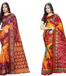 Buy Multicolor printed bhagalpuri silk saree with blouse navratri-sarees-nine-day online