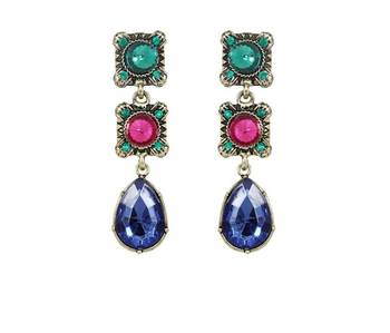Tri Color Drop Earrings