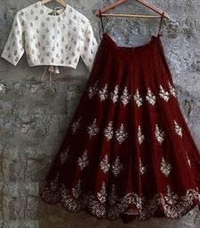 Buy maroon silk embroidered semi stitched lehenga choli  (Premium quality) lehenga-choli online
